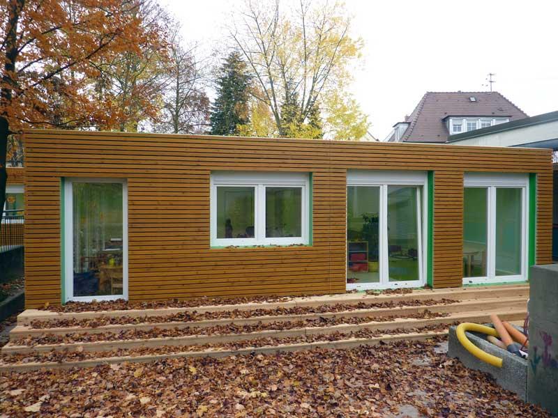 Kindergartenmodule kindergartencontainer von containerland for Holz wohncontainer